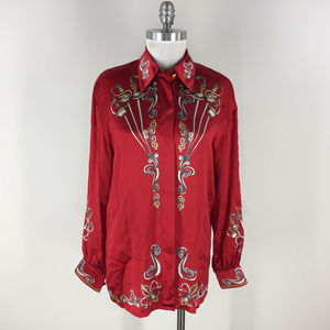 Vintage Escada 38 8 Red Silk Blouse Button Up